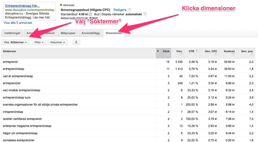 Såhär ser ni keyworddata från ert Adwordskonto