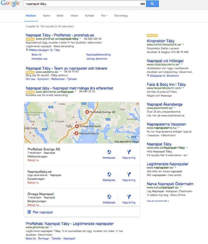 Exempel på Googles nya layout på lokalt sök