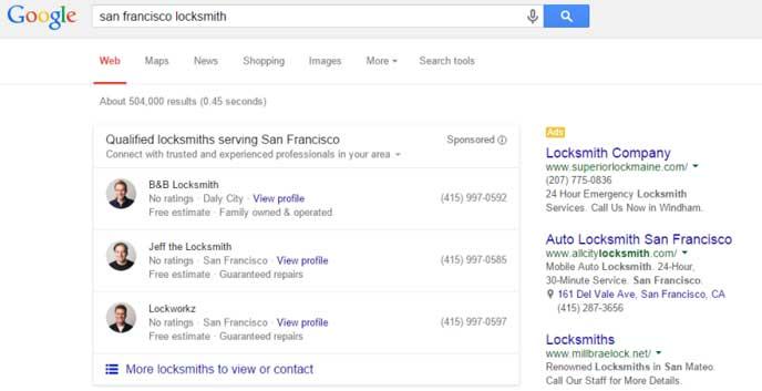 Exempel på hur organiska träffar blir annonser i framtiden i google