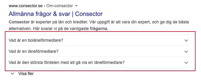 Exempel på FAQ schema i Google
